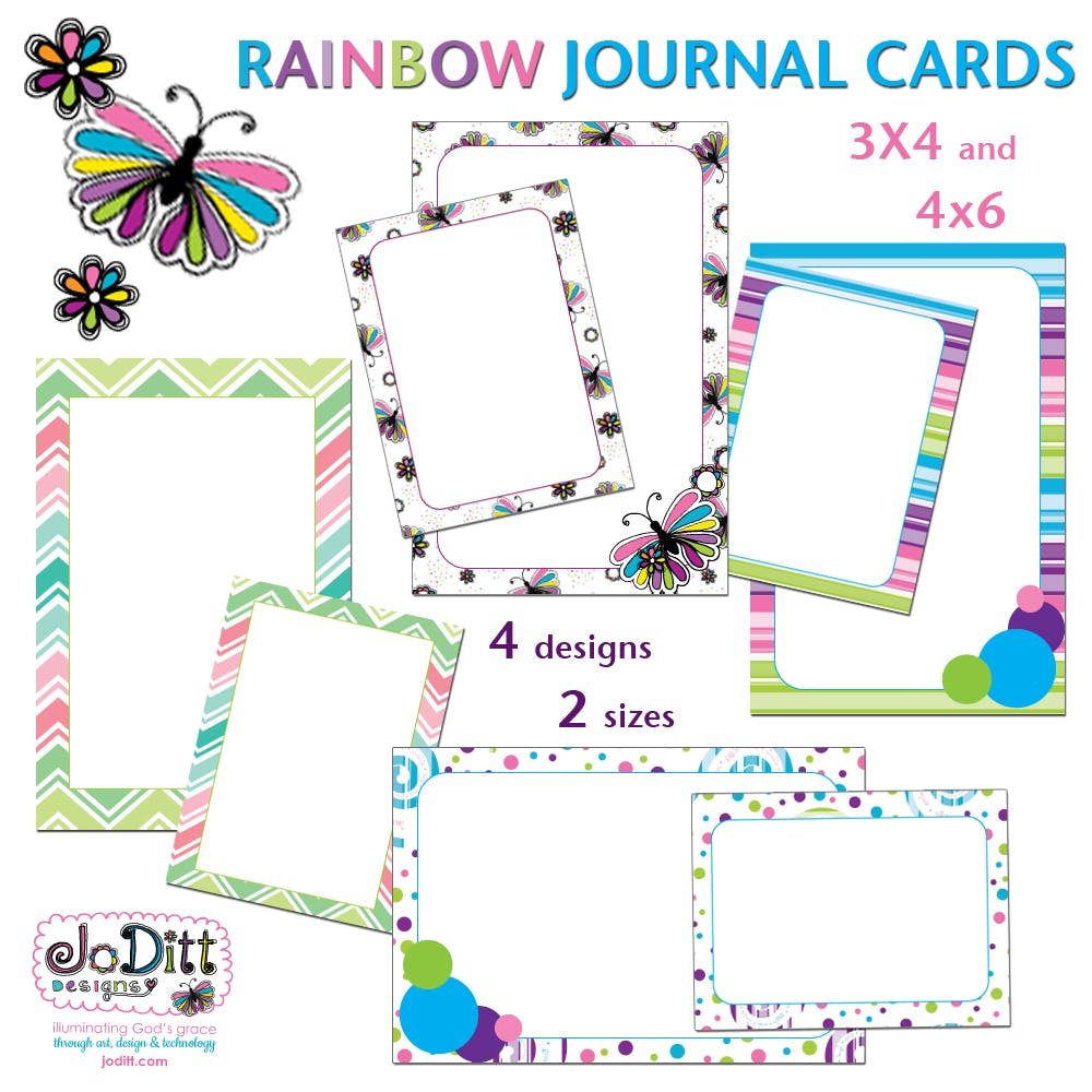 Rainbow Butterfly Journal Cards