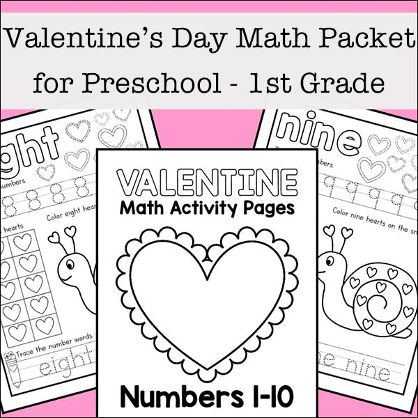 Valentine's Day Math Worksheets For Preschool - 1st Grade