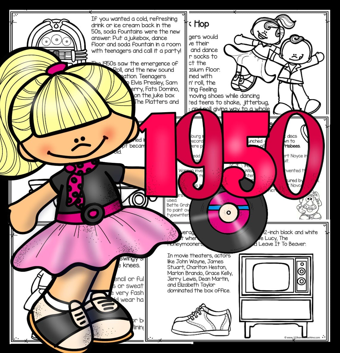 1950s For Kids Printable Book To Read Color And Learn Printable Resources