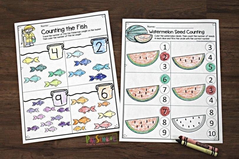 FREE Preschool Summer Math Worksheets