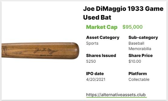 Joe DiMaggio Bat