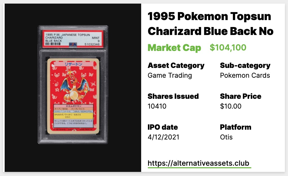 1995 Pokemon Topsun Charizard, No Number PSA 9