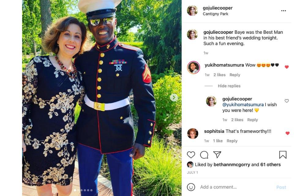 Baye in his Marine dress blues uniform and Julie