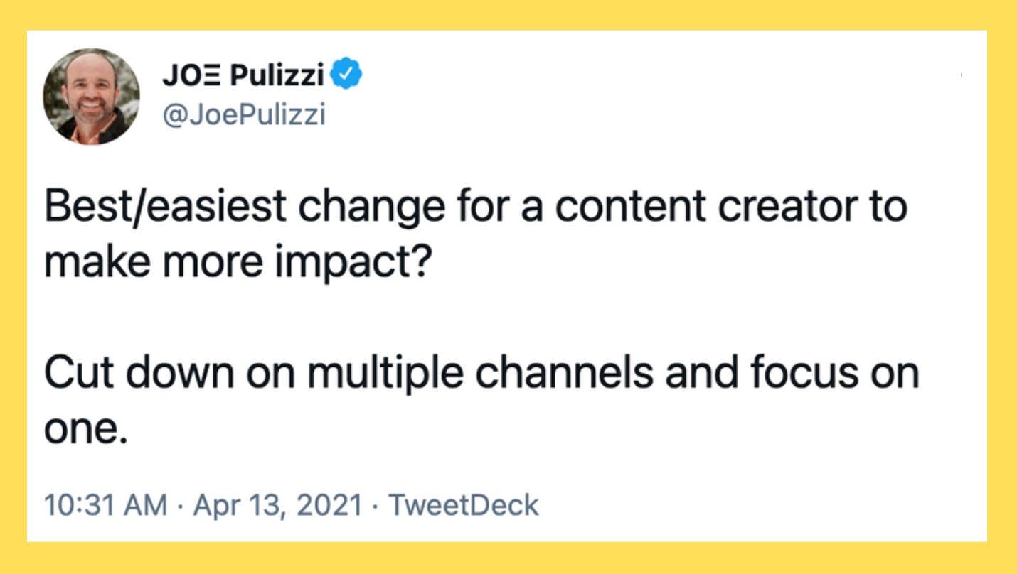 Joe Pulizzi Tweet