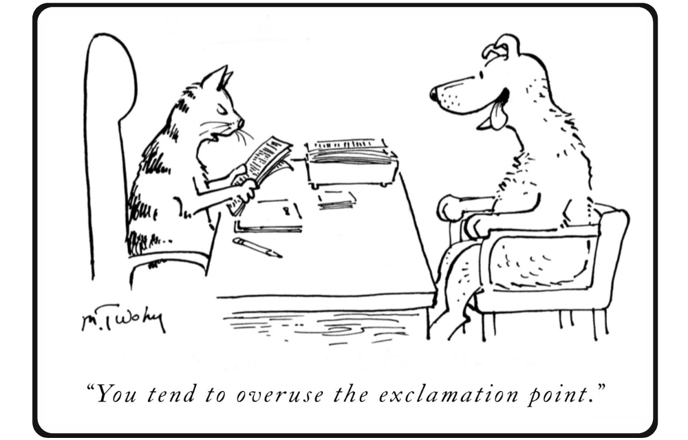 Cat says to excited dog: You tend to overuse the exclamation point!