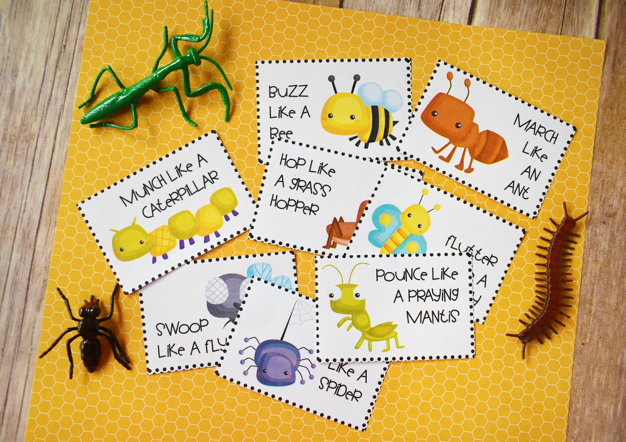 Bug Action Cards For Kids