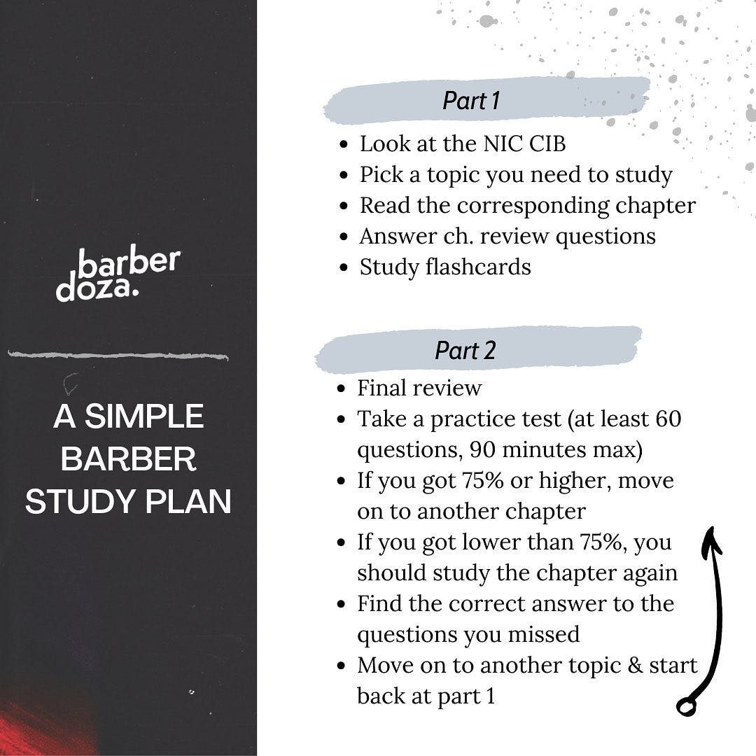 A simple barber exam study plan. I wanted to follow up my last post with some practical advice. This was the study plan I followed when prepping for my exam, along with some questions that helped me stay focused.  . That last photo is one of my favorite @andymineo quotes. I read it when I find myself worrying more about what people think about me more than about the dream that I'm trying to fulfill. I listened to it quite a bit during barber college. The song is called 'Rat Race', check it out sometime.  . #barberstudent #studentbarber #barbercollege #barberschool #barberexam #californiabarber