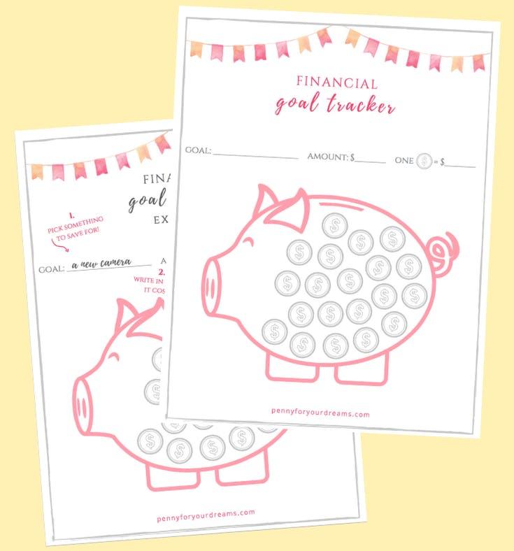 Free Savings Goal Tracker Piggy Bank Printable