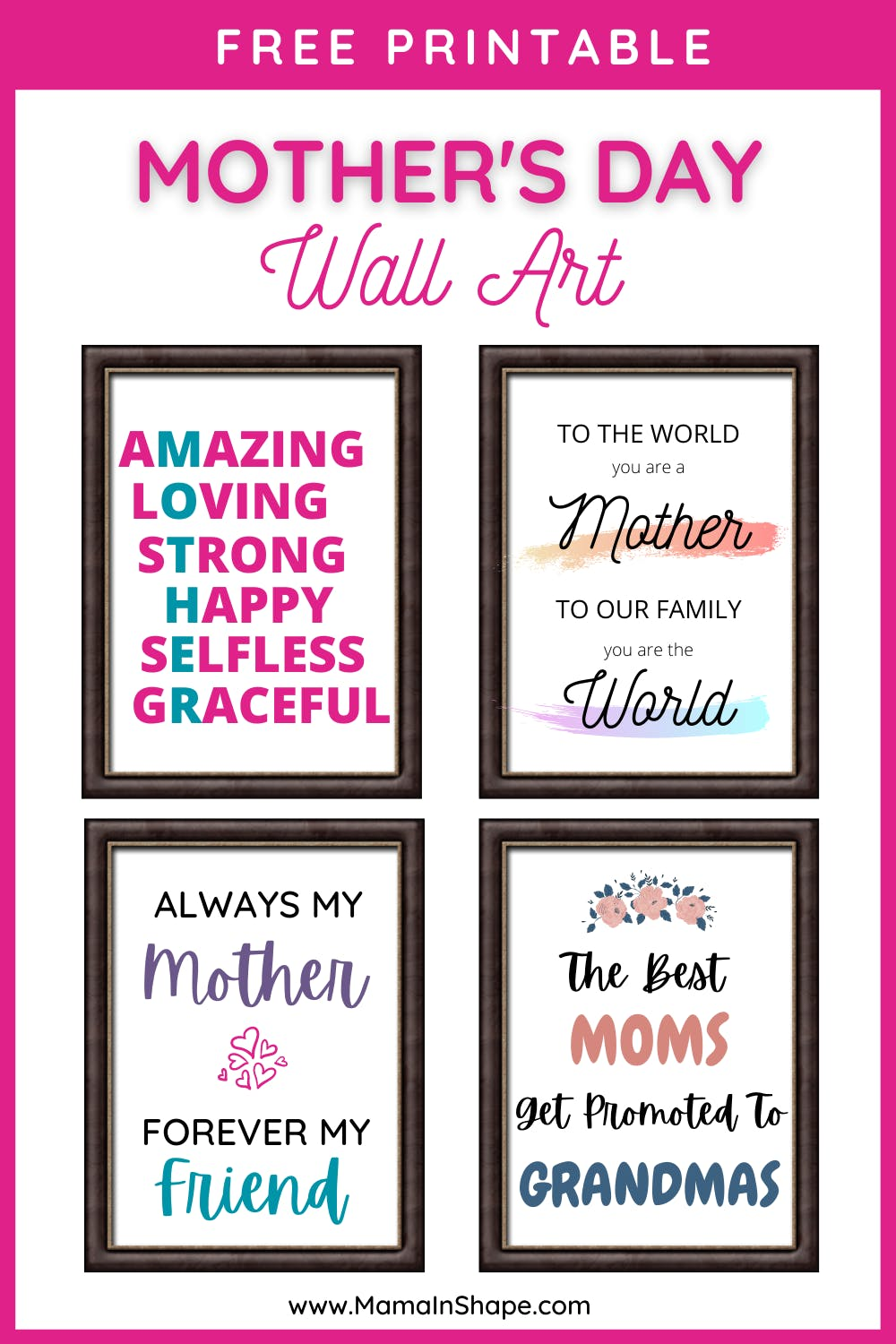 Mother's Day Wall Art Free Printable