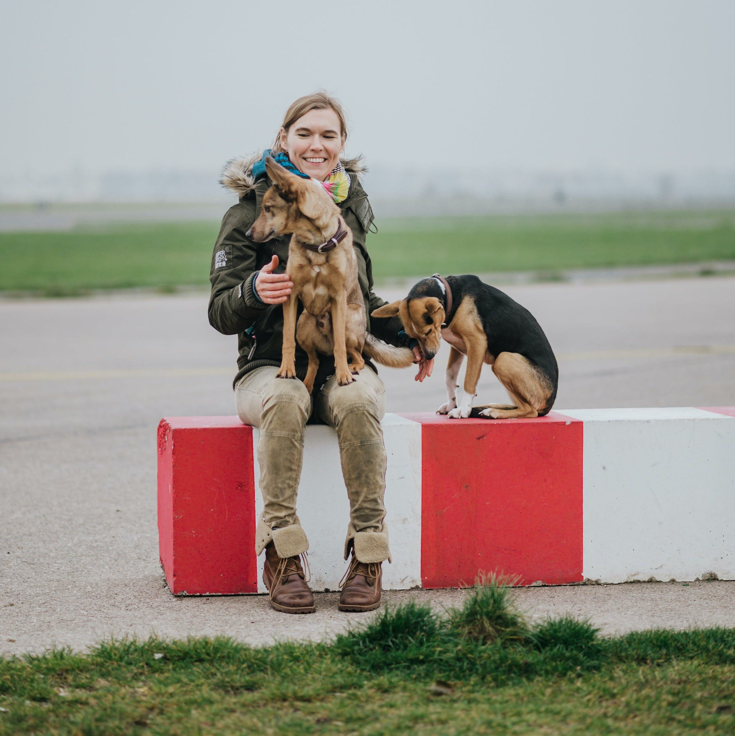 Photo of Verena with her two dogs.