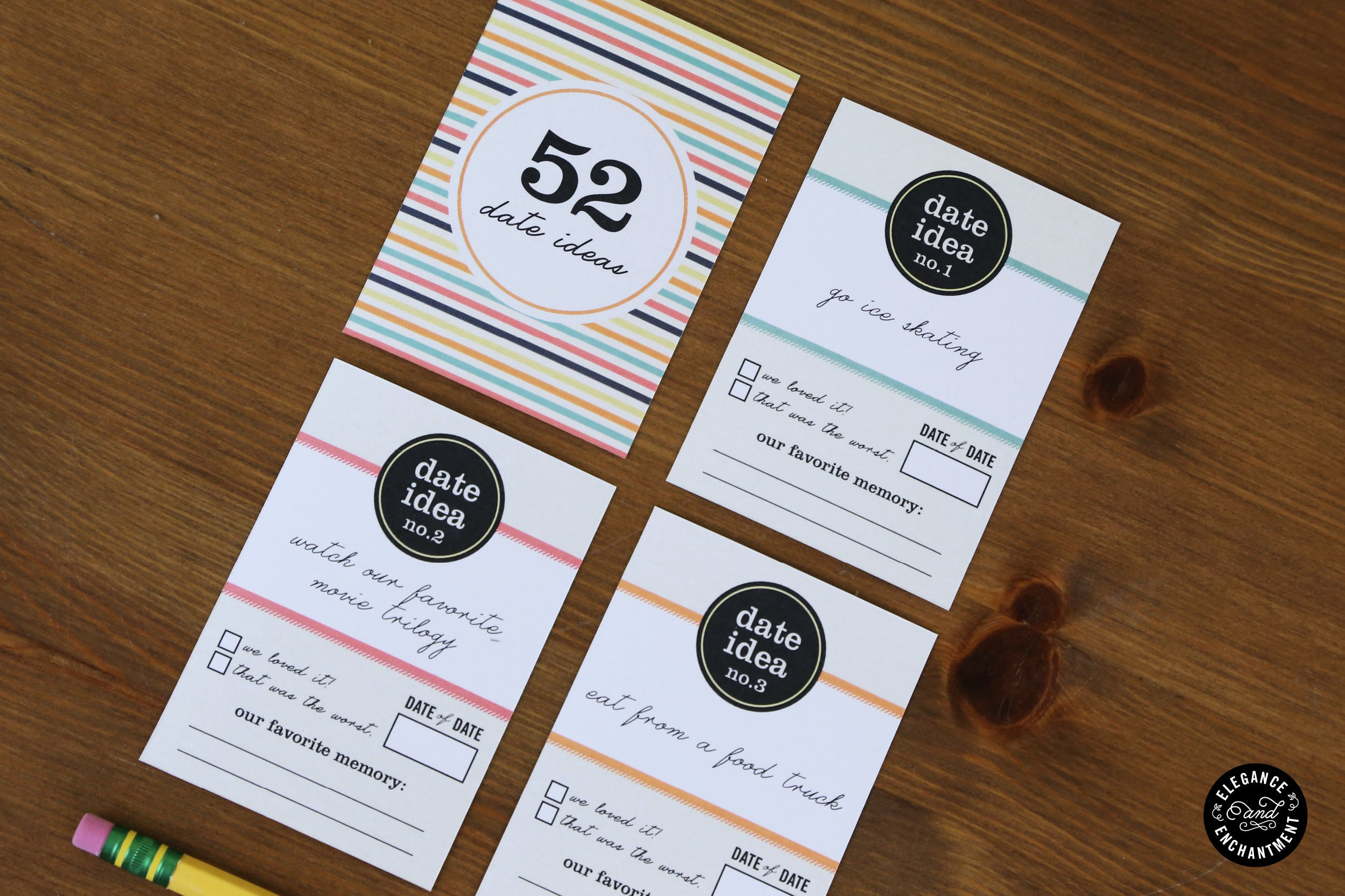 52 Date Night Ideas Printable Cards Gift Box