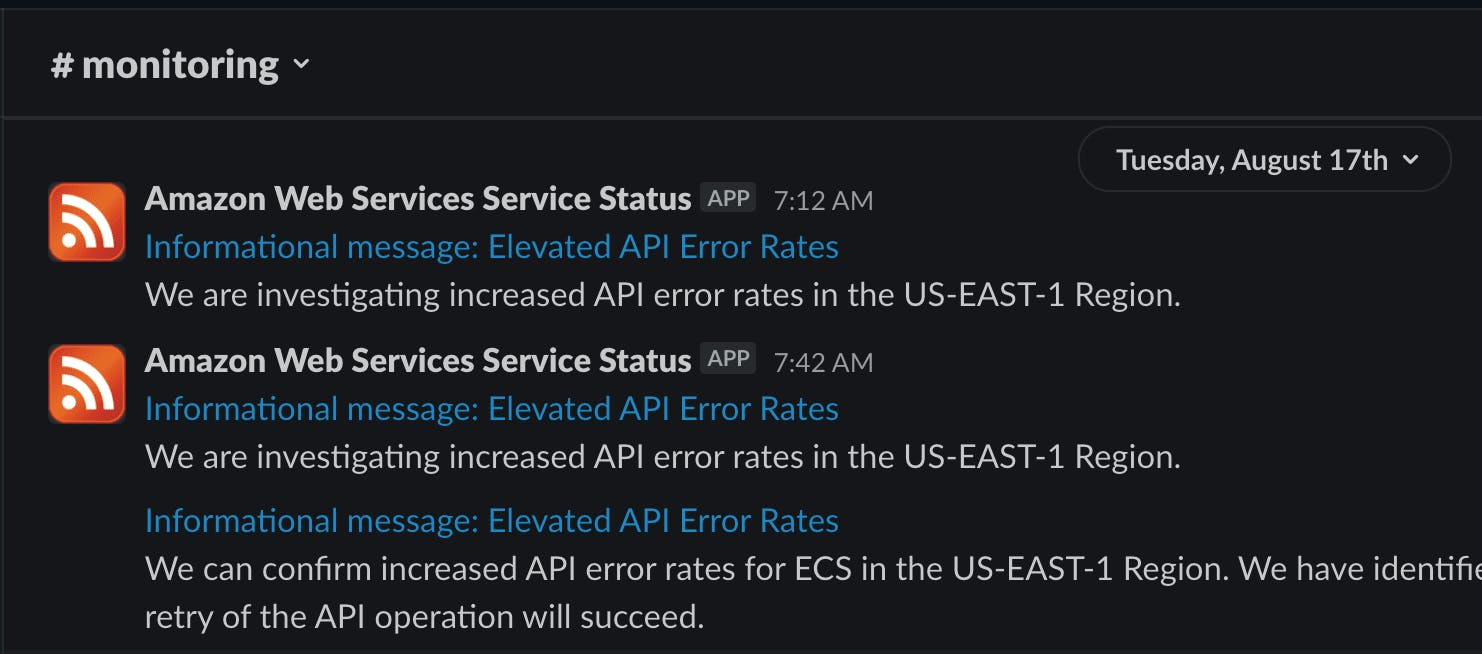 aws status notifications in slack