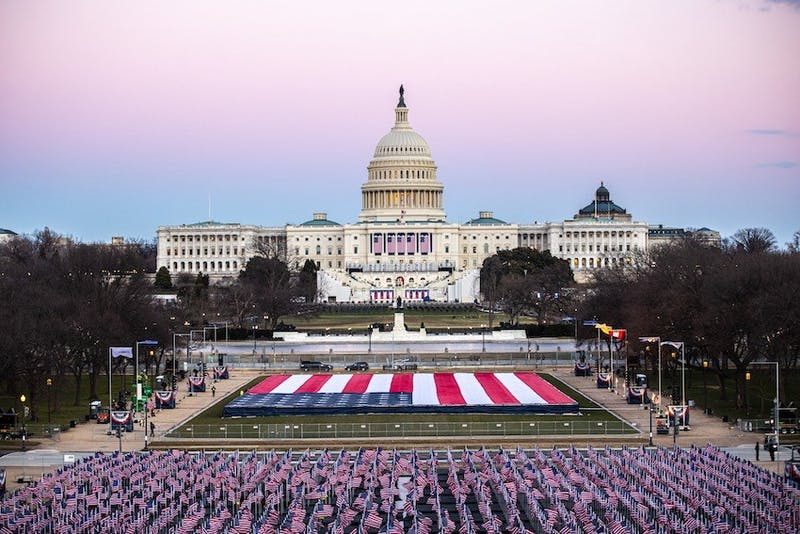 The Mall in front of the U.S. Capitol Building in preparation for the Inauguration