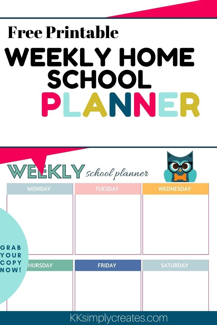 Free Printable homeschool planner for kids, free printable homeschool planner pages, free printable student weekly planner assignment sheet, schools, time management, for kids #freeprintable #freekids #kids