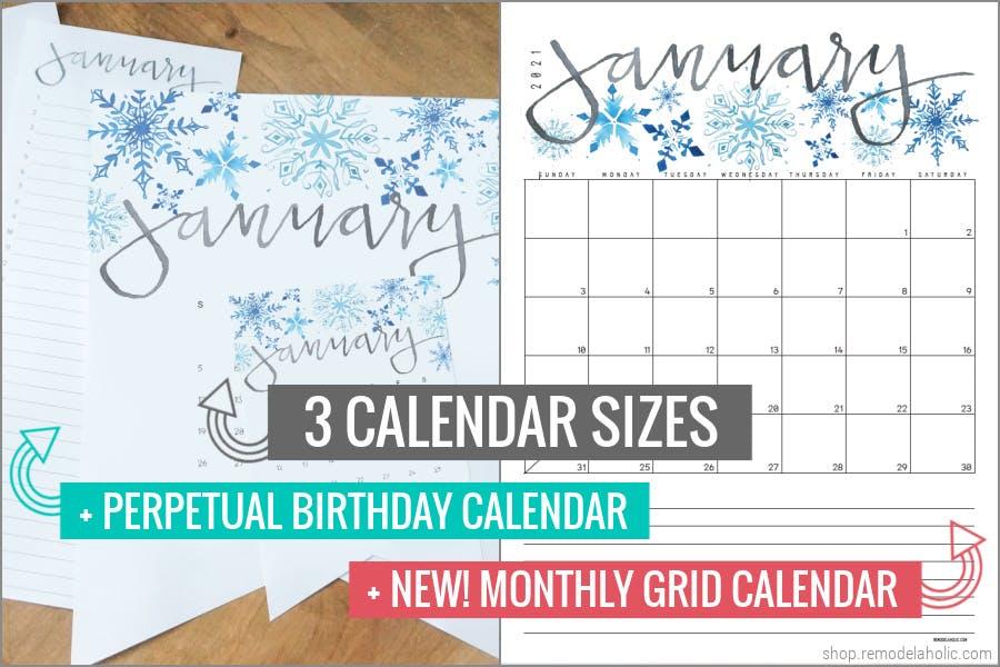 2021 Printable Calendar Bundle