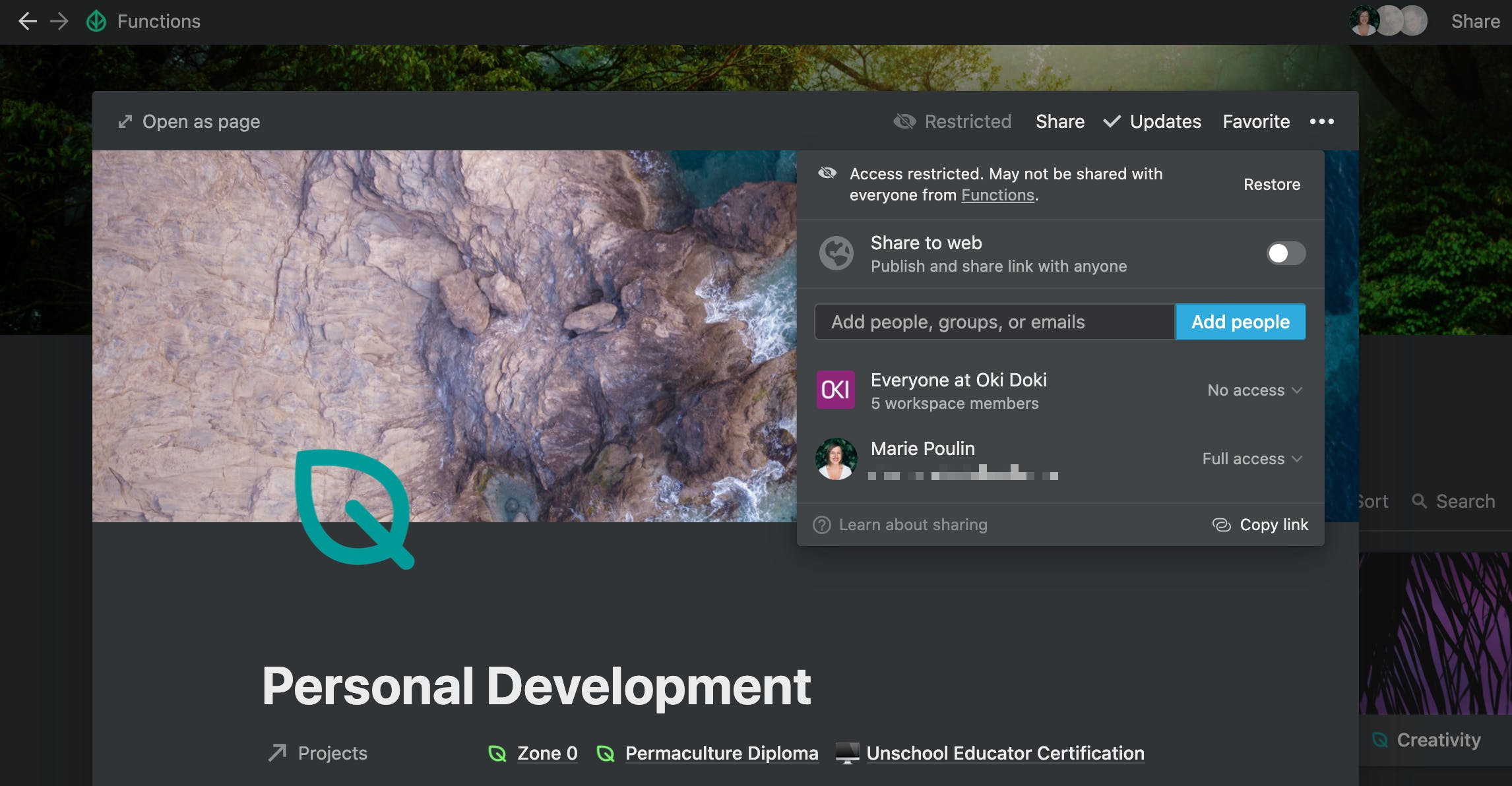 Snapshot of Personal Development entry permissions