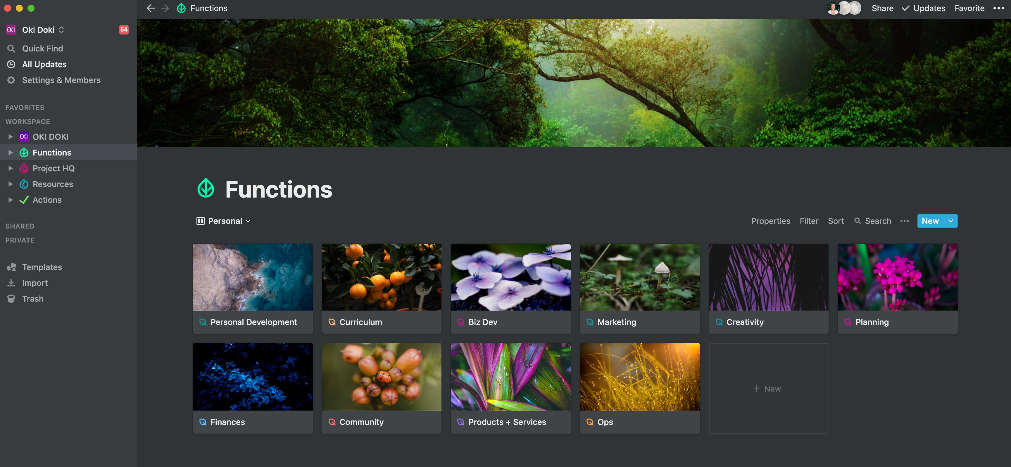 screenshot of functions database