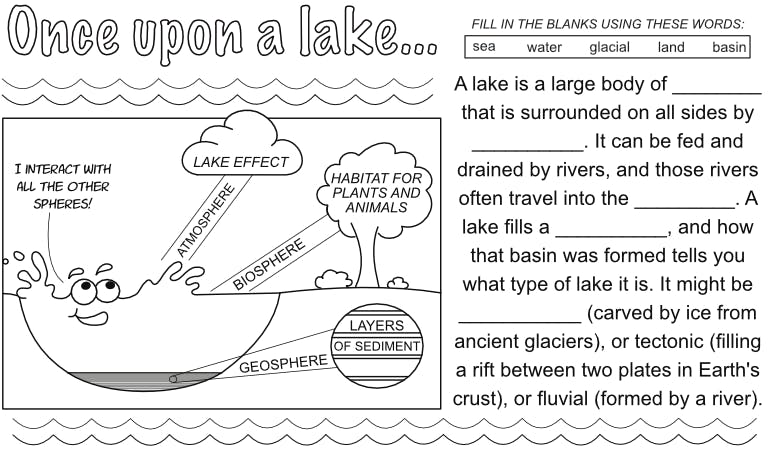 An image from one of our doodle note pages about lakes.