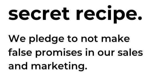 screenshot of 'secret recipe' section of pledge