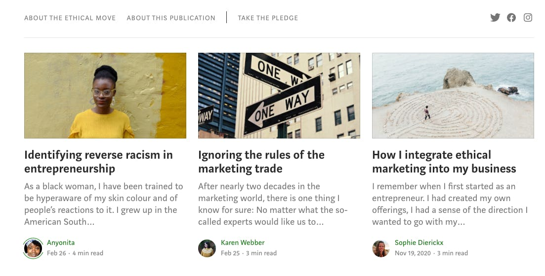 screenshot of the ethical move medium page
