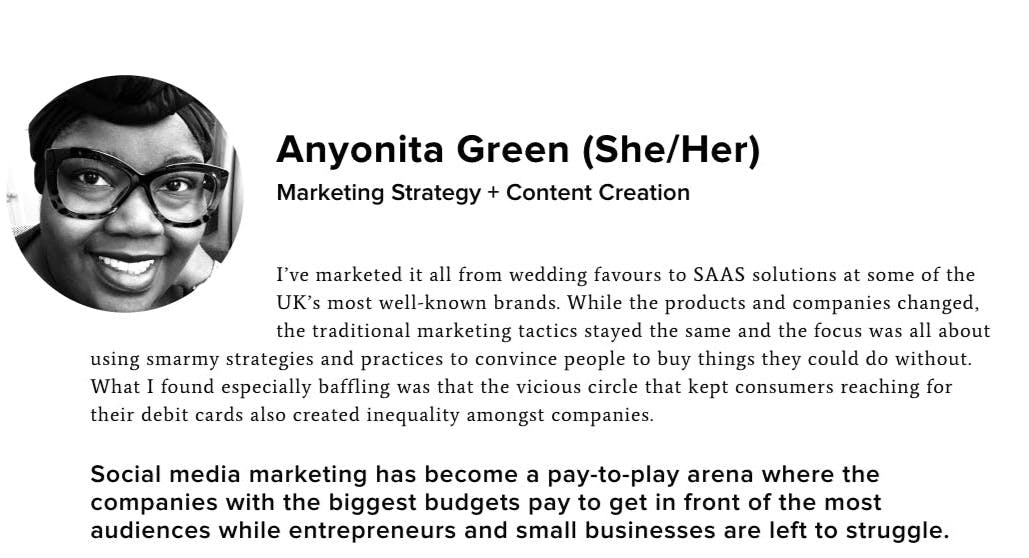Screenshot of Anyo Green's section on the team page