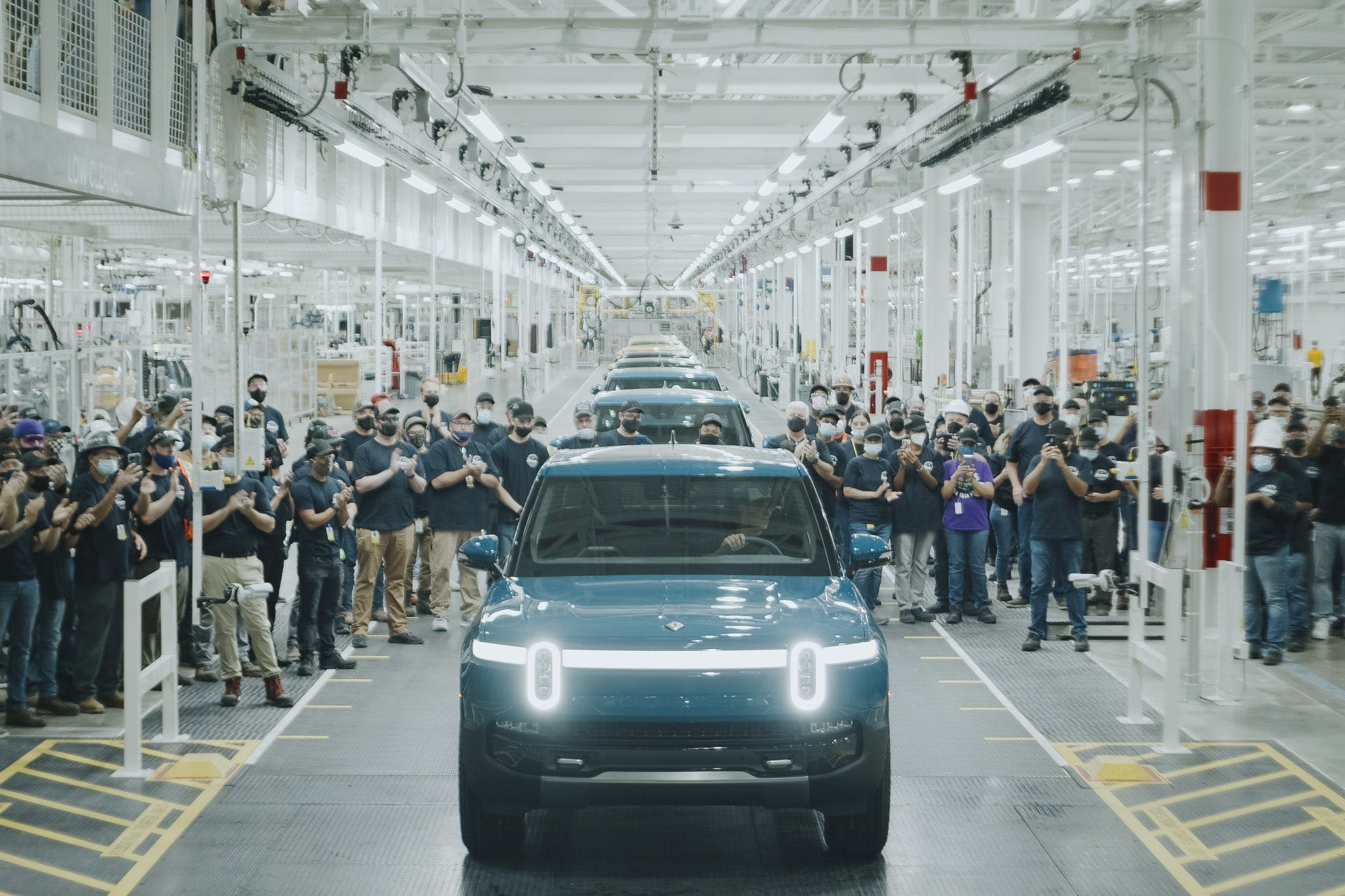 Rivian R1T fresh off the assembly line