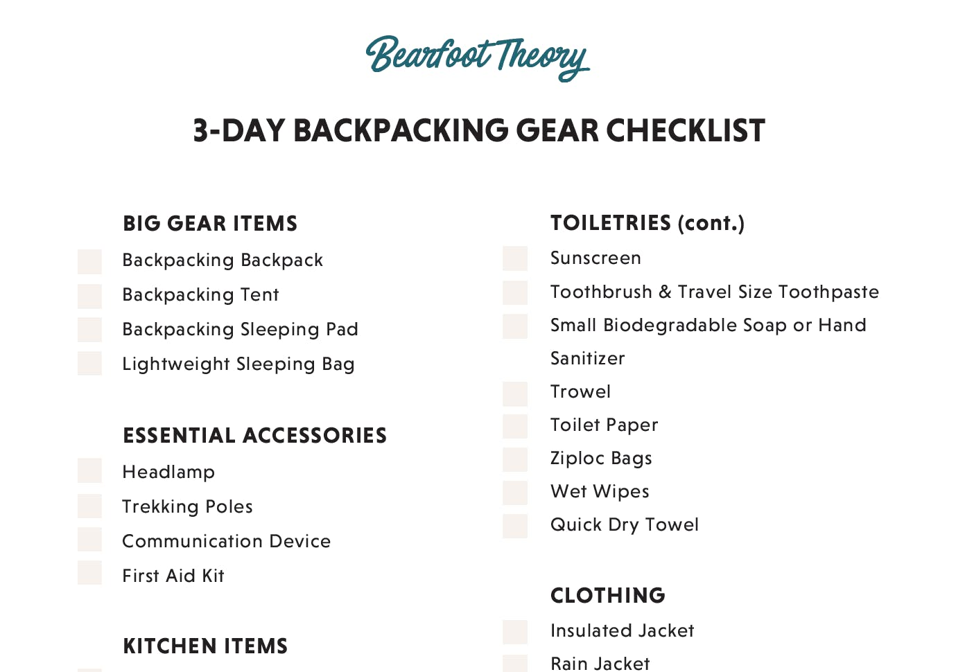 3 Day Backpacking Checklist Bearfoot Theory