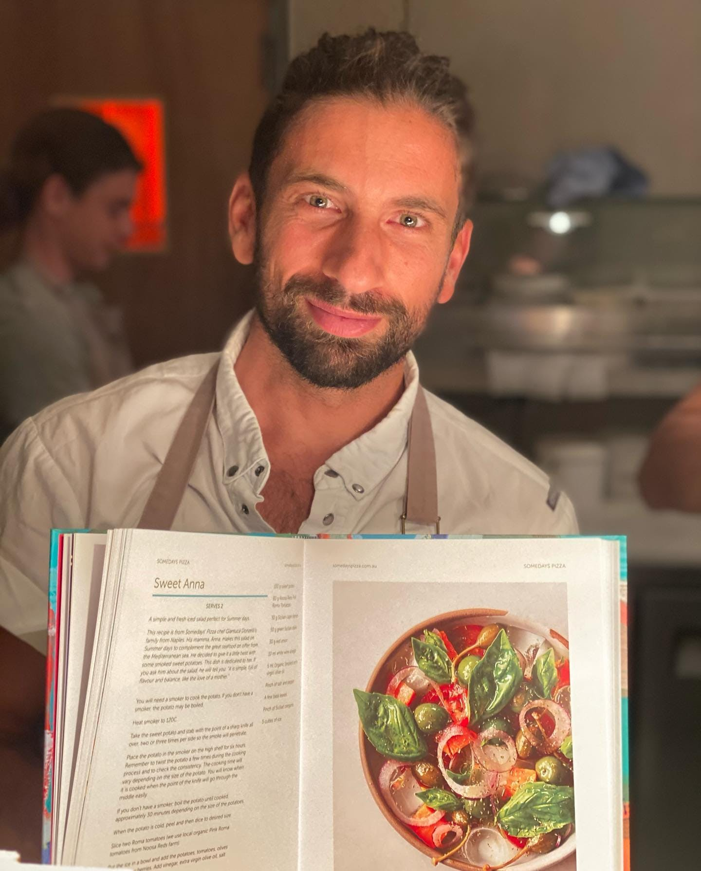 Chef Donzelli of Someday's Pizza shared his Mumma, Anna's, salad recipe with @cooknoosa cookbook.  The recipe hails from Naples were Anna serves it on summer days to complement the great seafood on offer from the Mediterranean Sea.  'It is simple, full of flavour and balance, like the love of a mother' @chefdonzelli @somedayspizza   #noosa #noosajunction #cooknoosa #noosacookbook