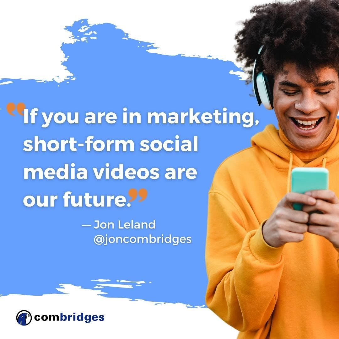 TikTok is the leading example of one of the most important trends in social media marketing: Short-Form Social Media Videos. In a new blog post I offer two illuminating videos that I found incredibly helpful as I explore short-form video myself. Check it out through the link in my bio 👉 @joncombridges  #tiktok #shortformvideo #tiktokmarketing #tiktokforbusiness #shortvideo #videomarketing #videomarketingtips #videomarketingstrategy #videomarketingforbusiness #tiktoktips #socialmediamarketing #socialmediamarketingstrategy #digitalmarketing #digitalmarketingtips #marketingstrategy #marketingstrategist