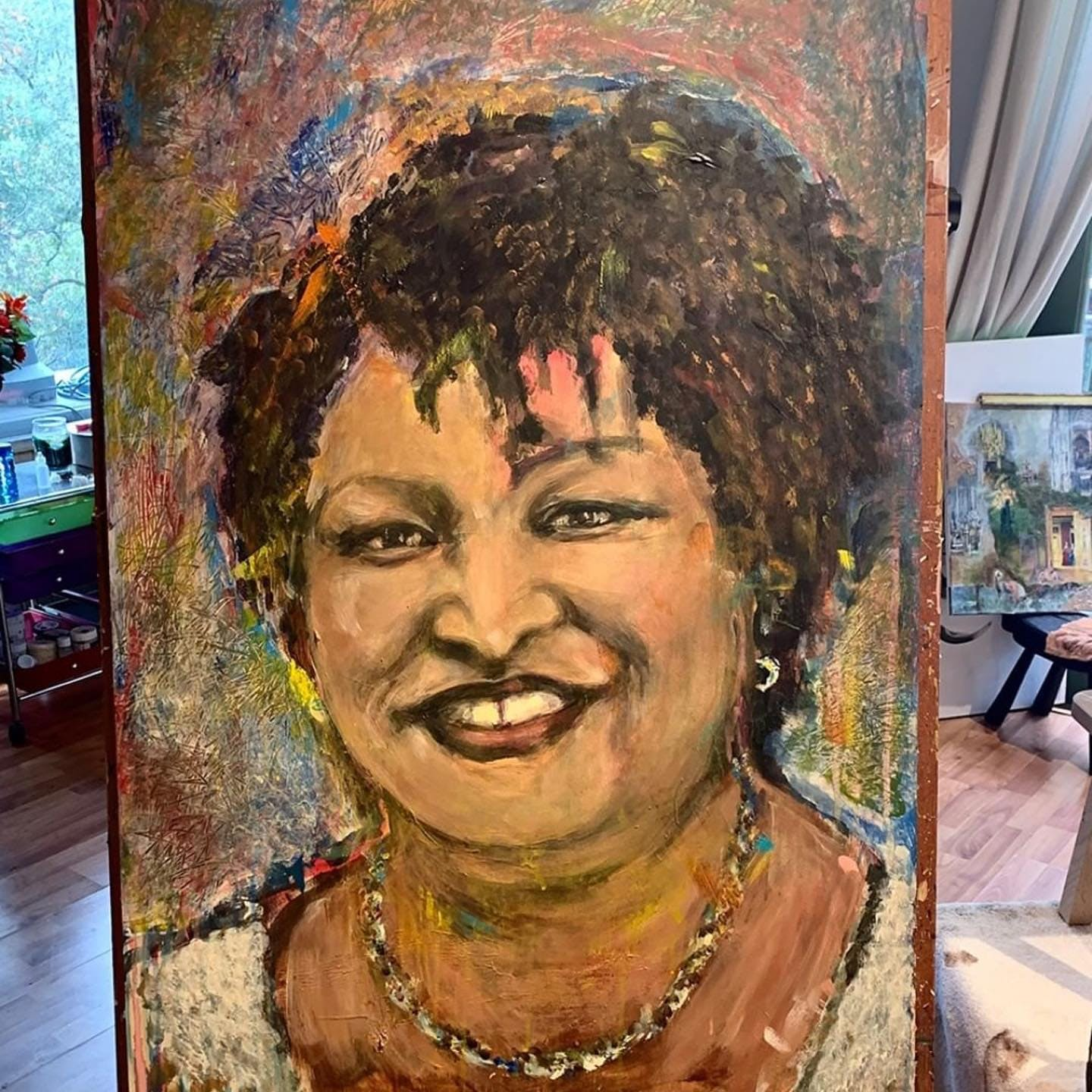 """#Repost @joancbaezofficial ・・・ Dear Stacey Abrams,  This portrait I painted of you is titled, """"Georgia On My Mind.""""  There is nowhere in this country right now more vital to the preservation of democracy than the state of Georgia. And there's nothing more vital to the state of Georgia than you and your thousands of coworkers. You all are proving to have more vision, savvy, grit, fire, and brains than your opposition could have thought possible. You are making """"good trouble.""""  You are admired and loved, prayed for and depended upon, by people from every corner of this beleaguered nation. Keep your eyes on the prize. And we'll keep our loving eyes on Georgia.  Yours,  Joan Baez  (Watch this Instagram profile for an upcoming unique opportunity to support Stacey Abrams' Fair Fight organization!) #fairfight2020 #fairfightaction #staceyabrams @staceyabrams @fairfightaction"""