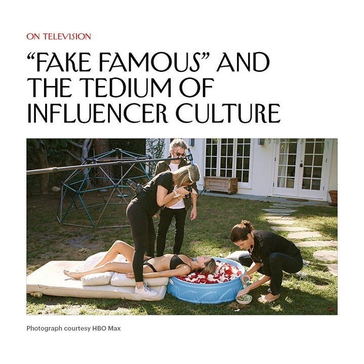 """I appreciated the way this doc exposed the empty underbelly of influencers.   Posted @withregram • @newyorkermag The documentary """"Fake Famous"""" follows three nobodies who are trying to become social-media celebrities in an effort to examine the nature of this particular kind of fame. It shows that growing a following can be a tedious kind of labor: In one amusing sequence, the would-be influencers are shown partaking in one-per-cent-like activities such as sipping champagne poolside at the Four Seasons, relaxing blissfully on an international flight, and receiving a luxurious spa treatment. All of this, however, is smoke and mirrors—in the pictures, which are shot in quick succession at a single location, a toilet seat held aloft mimics a plane's window, the champagne is apple juice, and the rose-petal-infused spa basin is a plastic kiddie pool. At the link in @newyorkermag bio, read @frynaomifry on #HBO's """"social experiment"""" about how fame works today. #influencer #influencerstyle #influencers #influencermarketing"""