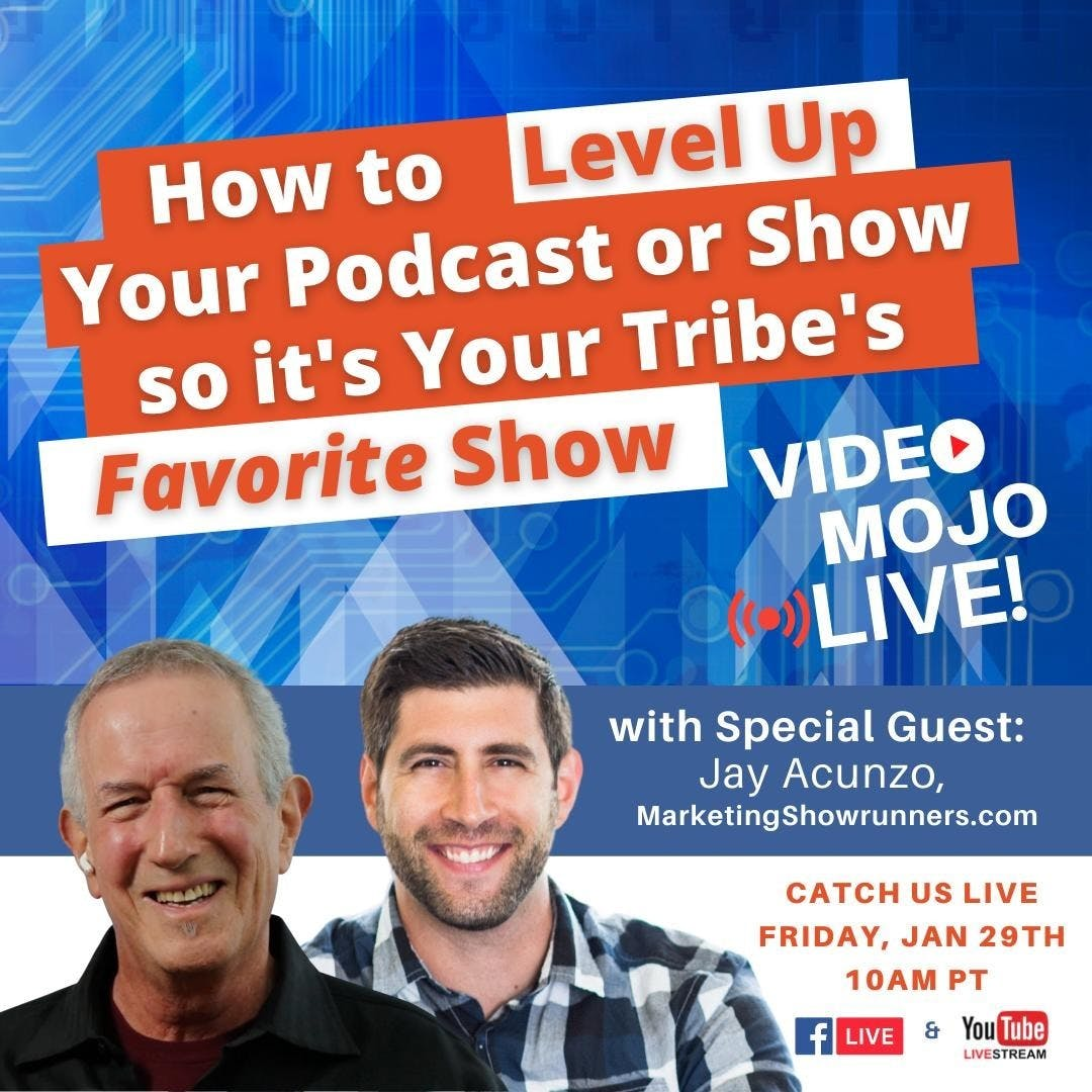 """Live This Friday: """"How to Level Up Your Podcast or Show So It's Your Tribe's Favorite Show"""" with #jacunzo, MarketingShowrunners.com Jay is awesome and shows (whether podcasts or video programs) are the future of content marketing. This Friday, my live interview with Jay will shed valuable light on how to make your show a """"favorite"""" in the minds of your ideal audience.   Join us LIVE this Friday, Jan 29th at 10am PT via our FB Page or YouTube channel.  #webshow #live #facebooklive #youtubelive #podcast #podcastersofinstagram #podcasters #youtuber #youtuber #youtubers #youtubersofinstagram #livepodcast #broadcastinglive #videomojo #videomojopodcast #contentmarketing"""
