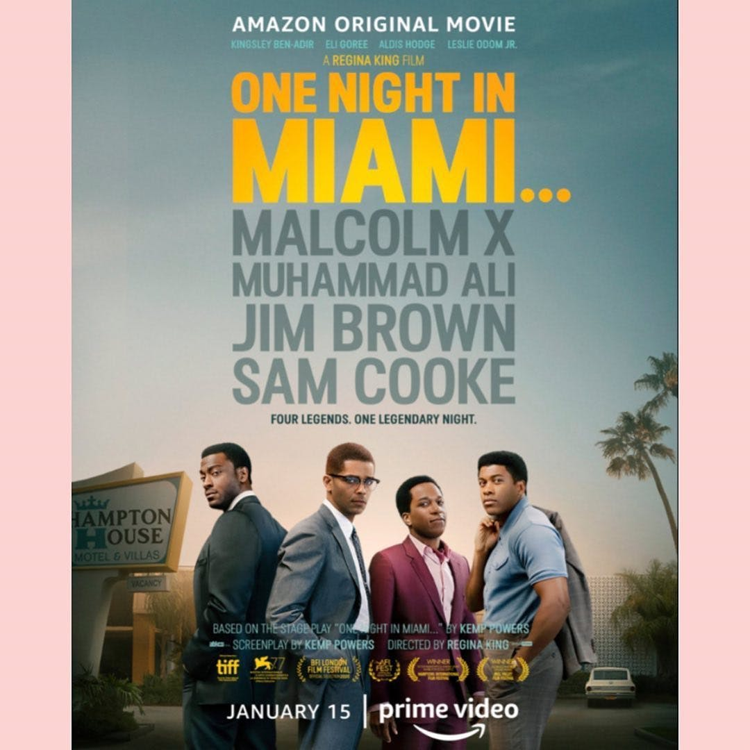 """Repost @miamifreedomproject Today, Amazon released the trailer to """"One Night in Miami,"""" which will be released January 15, 2021. Directed by @iamreginaking , the film is a fictional account of an evening in Miami on Feb 25, 1964 with Muhammad Ali (Eli Goree), Jim Brown (Aldis Hodge), Sam Cooke (Leslie Odom, Jr.) and Malcolm X (Kingsley Ben-Adir), as they gather to discuss cultural upheaval and civil rights. Inspired by true events, King's drama film was debuted at the Venice Film Festival as the first feature by a Black woman to premiere in the fest's 77-year history. Adding this to our list of things that excite us about 2021. #onenightinmiami @amazonstudios"""