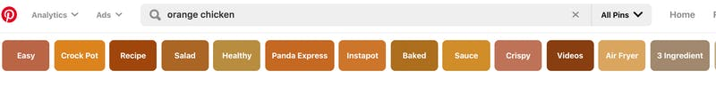 A screenshot of the guided search tool on pinterest for food bloggers