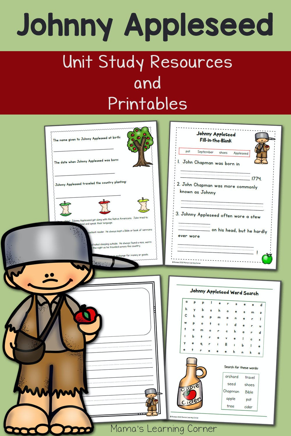 Johnny Appleseed Printables And Unit Study Resources Mamas Learning Corner