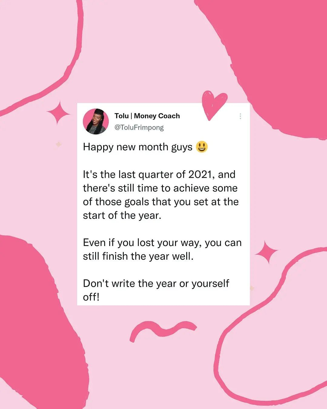 Happy New Month Guys!  We've officially entered into the last quarter of 2021, and there's still time for you to achieve your financial goals.  Don't wait until 2022 to make changes that will transform your financial tragectory. Start where you are, with what you have, and grow from there.  Your finances can look very different 3 months from today if you take action.  Whats one financial goal you can commit to accomplishing before the year is over? . . . #moneygoals #financialfreedom #financialgoals #goals #goalsetter #goalgetter #debtfreeuk #financialpeace #financialliteracy #inspiredbudget #budgeting  #debtfreecommunityuk #ukdebtfreecommunity #debtfreedom #mortgagefreejourney #debtfreeliving #debtfreejourney #savemoney #moneysaver #savingmoney #personalfinance #financialfreedom #financialindependence #fireblogger #tgifriday #fridaymotivation