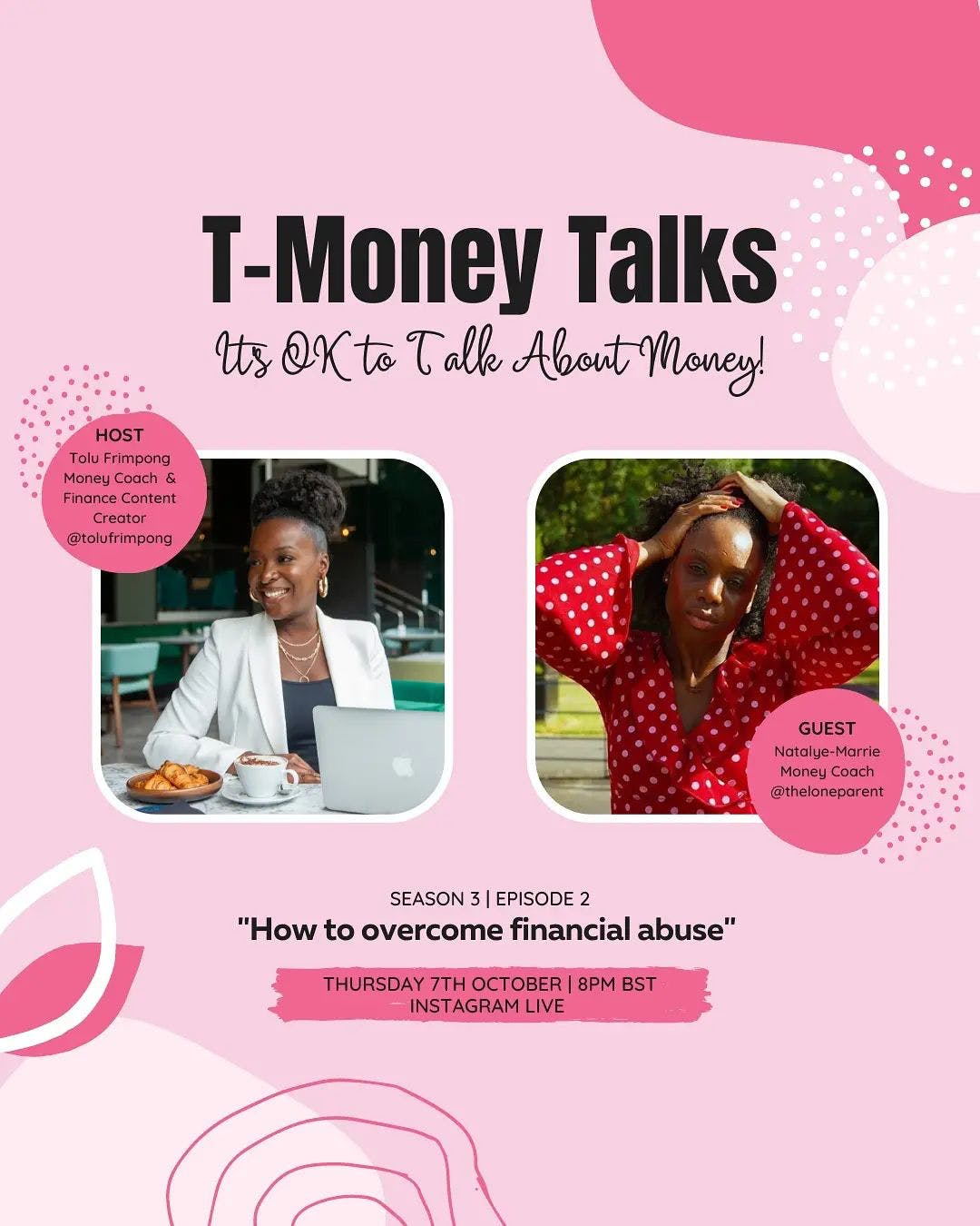 I'm so excited to announce that I'll be joined by Natalye-Marrie Boyce founder of @theloneparent to discuss the extremely sensitive topic of financial abuse.   Natalye is a single mum of two who helps other single mums break hold of debt and create the financial freedom they deserve.   Join us tomorrow night at 8pm BST to hear Natalye's inspiring story of how she was able to overcome financial abuse and achieve debt freedom.  Head to my IG stories to turn your reminder on so you don't miss it. . . .  #tmoneytalks #financialfreedom #financialindependence #financialabuse #financialeducation #financialgoals #ukdebtfreecommunity #debtfreecommunityuk  #moneycoach #financecoach #personalfinancecoach #moneycoachUK #budgetcoach #mummyblogger #mumblog #mumlife #mumsofinstagram  #motherhoodthroughinstagram   #motherhoodunplugged #momblogger