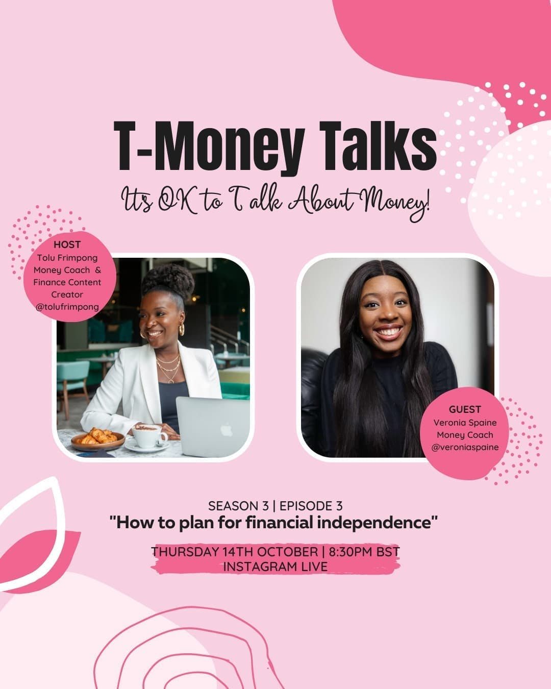 I'm excited to announce that tonight I'll be joined by Money Coach and fellow finance YouTuber Veronia Spaine to discuss how to plan for financial independence.  Veronia is a money coach who works with working millennial women to create their money plan to start working towards financial independence.   Her aim is to encourage women to spend intentionally, save differently and invest like a boss.  Join as at the slightly later time of 8:30pm.turn your reminder on via stories so you don't miss it! . . .#tmoneytalks #instagramlive  #ukdebtfreecommunity #debtfreeuk #journeytofinancialIndependence  #FinancialIndependence #personalfinanceuk #frugallivinguk #journeytofinancialfreedom