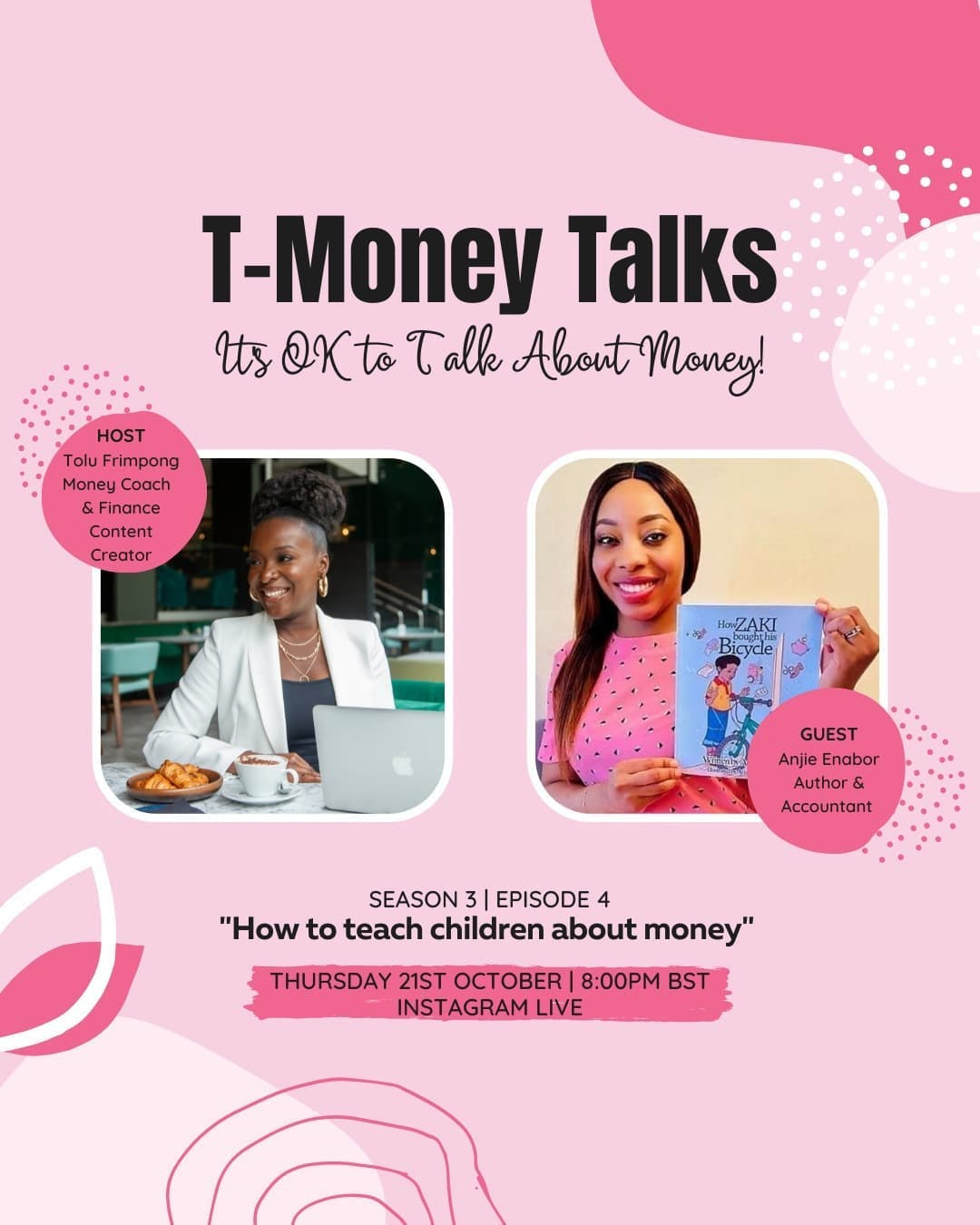 """I'm excited to announce that tonight at 8pm BST, I'll be joined by Anjie Enabor @zakis_money_adventures to discuss how to teach children about money.  Anji is a Chartered Accountant passionate about financial literacy and introducing real life financial principles to children from a young age.  She has recently published her first children's book """"How Zaki  bought his bicycle"""" and will be telling us all about it on tonight's live.  Will you be tuning in?   #tmoneytalks #instagramlive #moneylessonsforkids #financialeducationservices #debtfreecommunityuk #ukdebtfreecommunity #debtfreeuk #journeytofinancialIndependence  #FinancialIndependence #personalfinanceuk #financialliteracy #savemoney #journeytofinancialfreedom"""