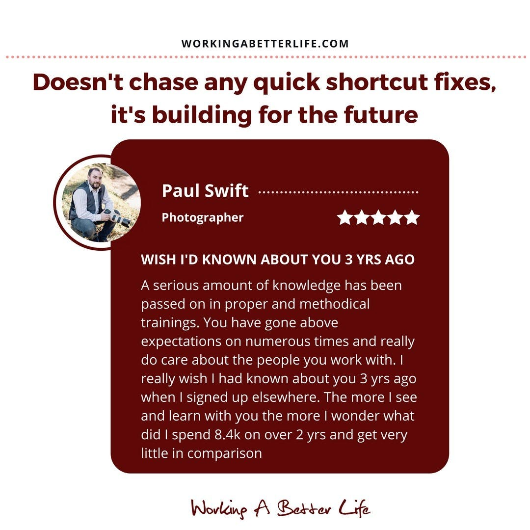 When Paul first started working with me he immersed himself in my trainings and frameworks, implementing one step at a time, starting with the foundations.⠀⠀⠀⠀⠀⠀⠀⠀⠀ ⠀⠀⠀⠀⠀⠀⠀⠀⠀ Before long he started getting results. He went from 0 clients on his books to 26.⠀⠀⠀⠀⠀⠀⠀⠀⠀ ⠀⠀⠀⠀⠀⠀⠀⠀⠀ As he built his momentum, he followed my system of frequently and incrementally increasing his fees.⠀⠀⠀⠀⠀⠀⠀⠀⠀ ⠀⠀⠀⠀⠀⠀⠀⠀⠀ He's now charging 350% more than he was a couple of years ago. ⠀⠀⠀⠀⠀⠀⠀⠀⠀ ⠀⠀⠀⠀⠀⠀⠀⠀⠀ Still meeting his targets for bookings.⠀⠀⠀⠀⠀⠀⠀⠀⠀ ⠀⠀⠀⠀⠀⠀⠀⠀⠀ Not only is he making more money, more profit, the clients he's booking are more fun to work with.⠀⠀⠀⠀⠀⠀⠀⠀⠀ ⠀⠀⠀⠀⠀⠀⠀⠀⠀ But it gets better. ⠀⠀⠀⠀⠀⠀⠀⠀⠀ ⠀⠀⠀⠀⠀⠀⠀⠀⠀ The impact of this means that Paul has quit his job (that he hated) and gone full time as a professional photographer.⠀⠀⠀⠀⠀⠀⠀⠀⠀ ⠀⠀⠀⠀⠀⠀⠀⠀⠀ That's a win in business and a win in life!⠀⠀⠀⠀⠀⠀⠀⠀⠀ ⠀⠀⠀⠀⠀⠀⠀⠀⠀ I helped Paul and I'd like to help you...⠀⠀⠀⠀⠀⠀⠀⠀⠀ ⠀⠀⠀⠀⠀⠀⠀⠀⠀ If you'd like my help send me a DM and we'll see if you are a good fit and how best I can help you.