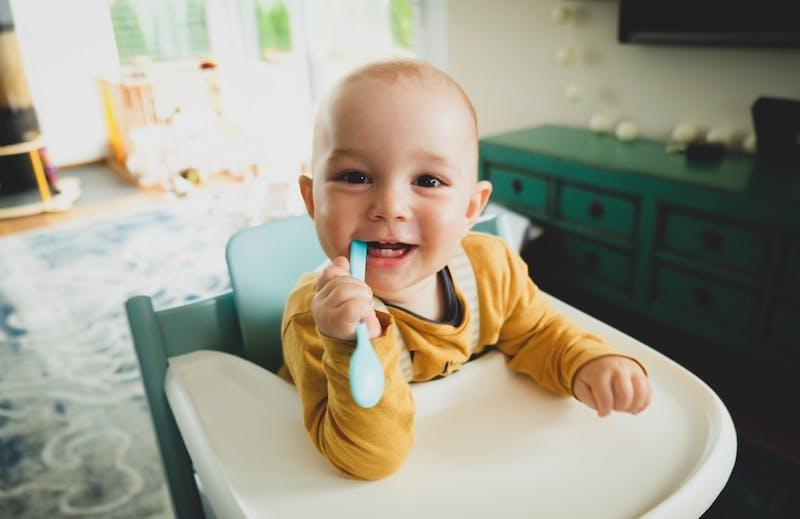 toddler boy in highchair