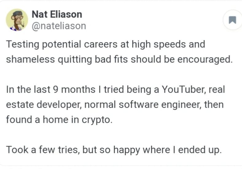 A Nat Eliason quote on urgency, testing careers, and happiness.
