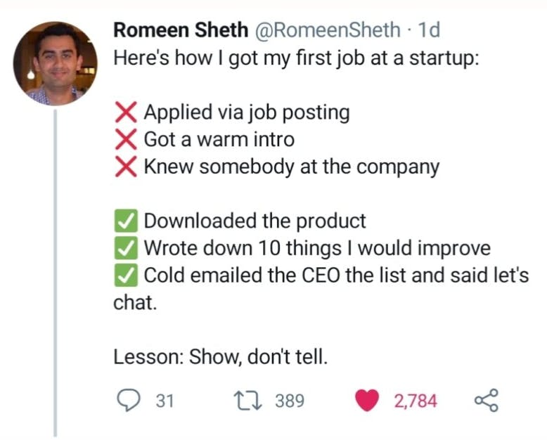 A Romeen Sheth quote about landing a startup job