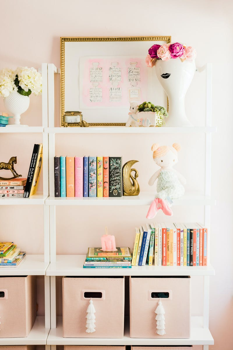 Spruce Up Your Home While Sheltering in Place | Girls Nursery bookcase styling