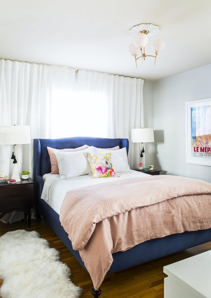 Navy and pink bedroom.