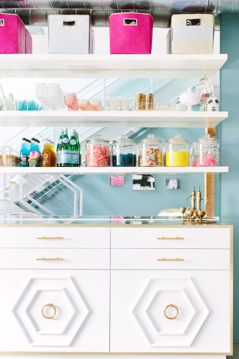 Spruce Up Your Home While Sheltering in Place | Candy bar | floating shelves with mirror
