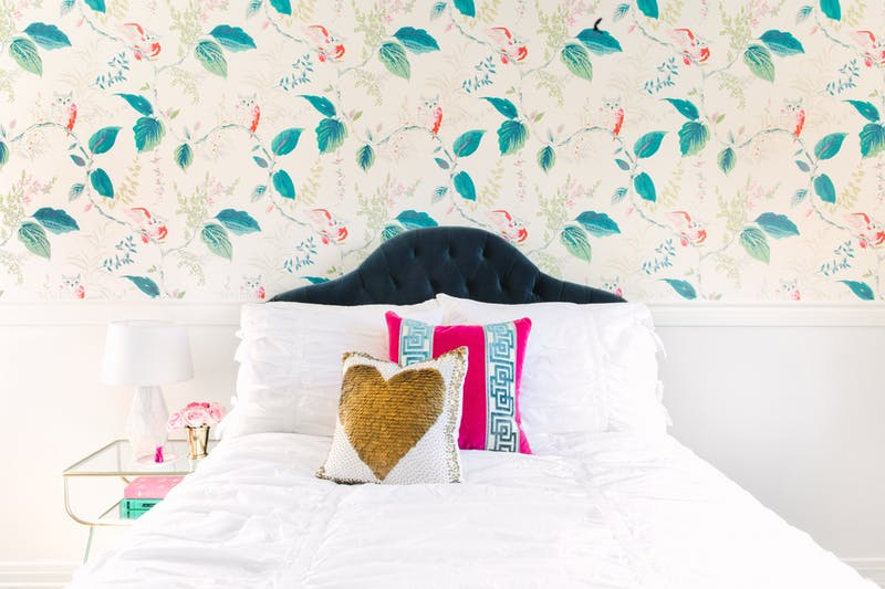 Colorful Kate Spade Owlish wallpaper bedroom by Los Angeles and Fort Worth based interior designer Jessica McClendon