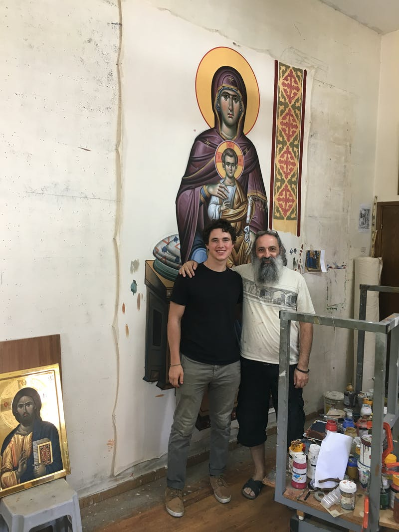 With Adamos Adamou in his workshop