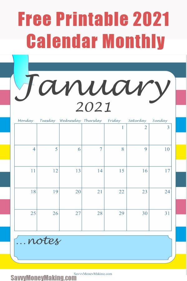 2021 Monthly Calendar Printable - Free Monthly Calendar ...