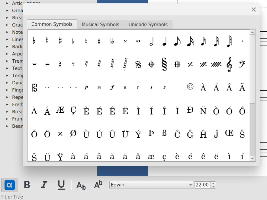 Special Characters dialog